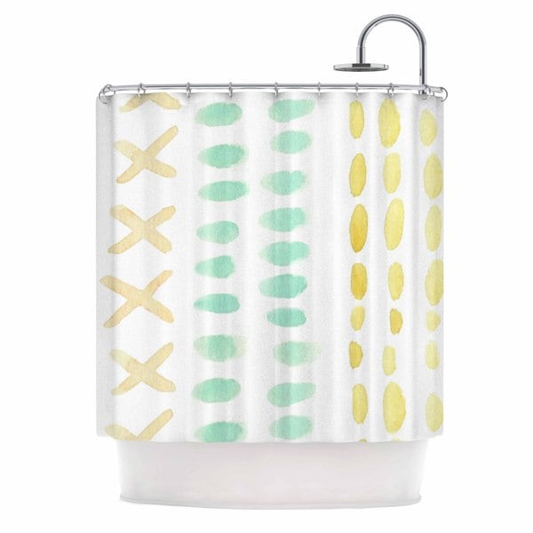 KESS InHouse Jennifer Rizzo Dots And Dashes Teal Yellow Shower Curtain (69x70)
