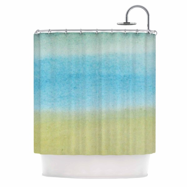 "KESS InHouse Jennifer Rizzo ""Watercolor Paint Stripe"" Blue Tan Shower Curtain (69x70) - 69 x 70"