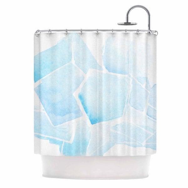 KESS InHouse Jennifer Rizzo Blue Quartz Blue Watercolor Shower Curtain (69x70)