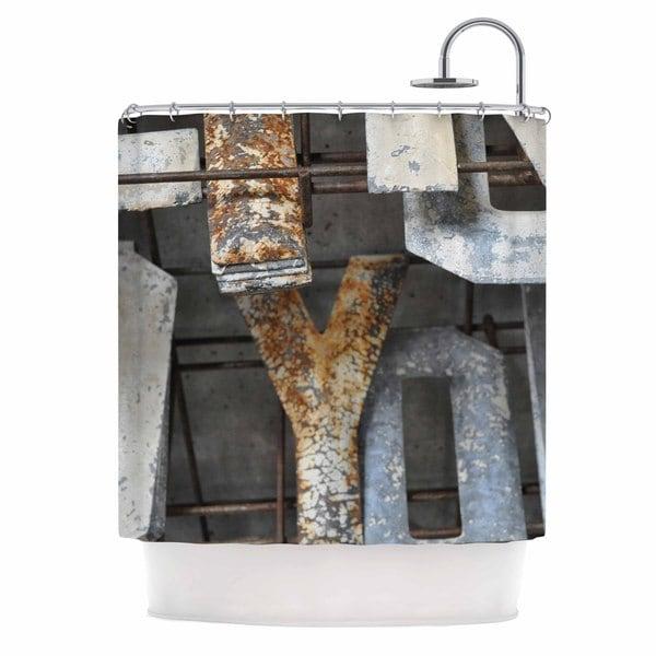 KESS InHouse Jennifer Rizzo Patina Letters Gray Brown Shower Curtain (69x70)