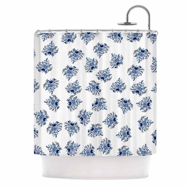 "KESS InHouse Jennifer Rizzo ""Blue Garden Flowers"" Floral White Shower Curtain (69x70) - 69 x 70"