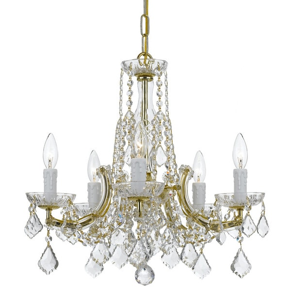 Crystorama Traditional Crystal Collection 5-light Gold/Crystal Chandelier