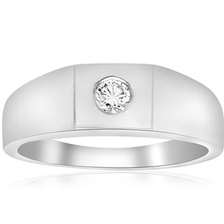 14k White Gold 1/4 ct TDW Diamond Solitaire Wedding High Polished Ring (I-J,I2-3)