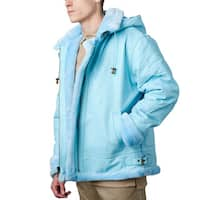 Tanners Avenue Men's Sky Blue Leather Shearling Bomber Jacket with Detachable Hood