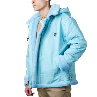 Tanners Avenue Men's Sky Blue Leather Shearling Bomber Jacket with Detachable Hood (3 options available)