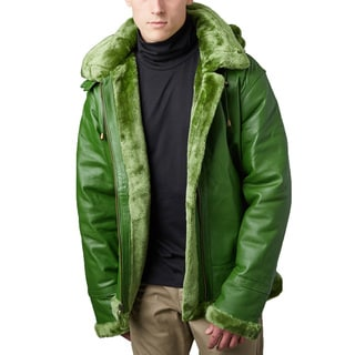 Tanners Avenue Men's Green Leather Shearling Bomber Jacket with Detachable Hood