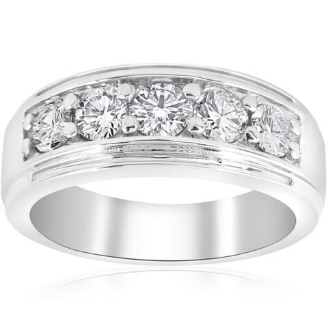 10k White Gold 1 ct TDW Diamond Five Stone Wedding Ring (I-J,I2-3)