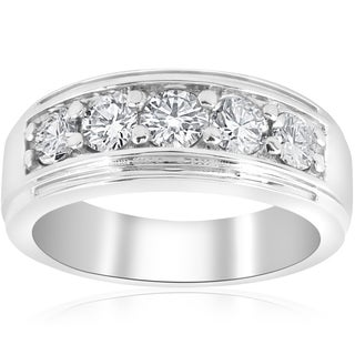 10k White Gold 1 ct TDW Diamond Five Stone Wedding Ring (I-J,I2-3) (More options available)