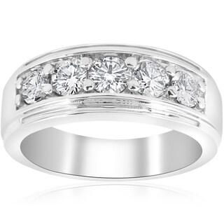 10k White Gold 1 ct TDW Diamond Five Stone Wedding Ring (I-J,I2-3)