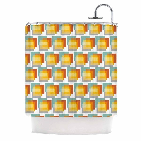 KESS InHouse Juliana Motzko GEO1 Orange Multicolor Shower Curtain (69x70)