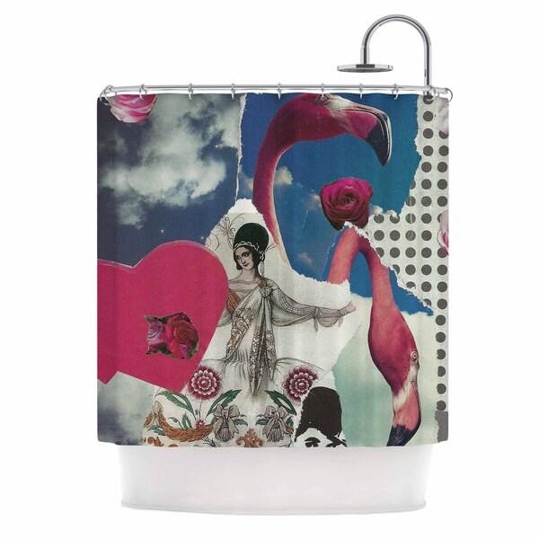KESS InHouse Jina Ninjjaga Flamingo Attack Pop Art Shower Curtain (69x70)
