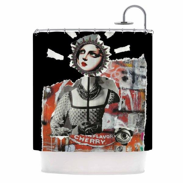 KESS InHouse Jina Ninjjaga Anarchy Black Orange Shower Curtain (69x70)
