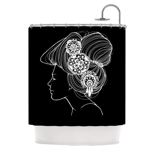 KESS InHouse Jennie Penny Organic Black Shower Curtain (69x70)