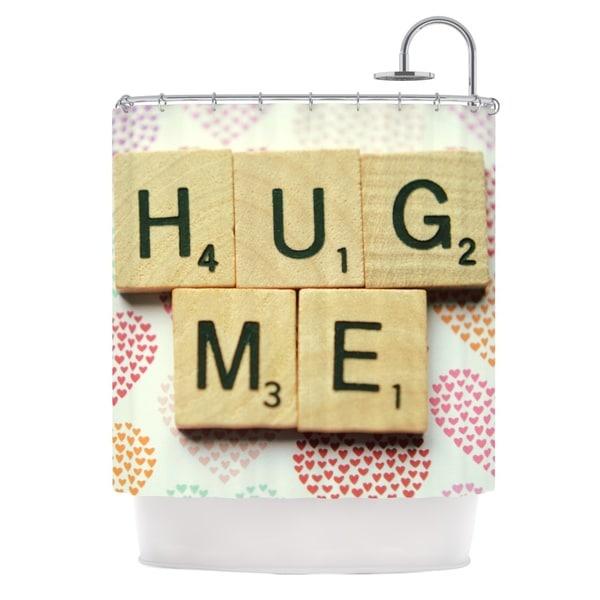 KESS InHouse Cristina Mitchell Hug Me Heart Text Shower Curtain (69x70)