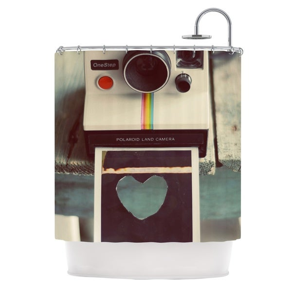 KESS InHouse Cristina Mitchell Polaroid Love Teal Camera Shower Curtain (69x70)