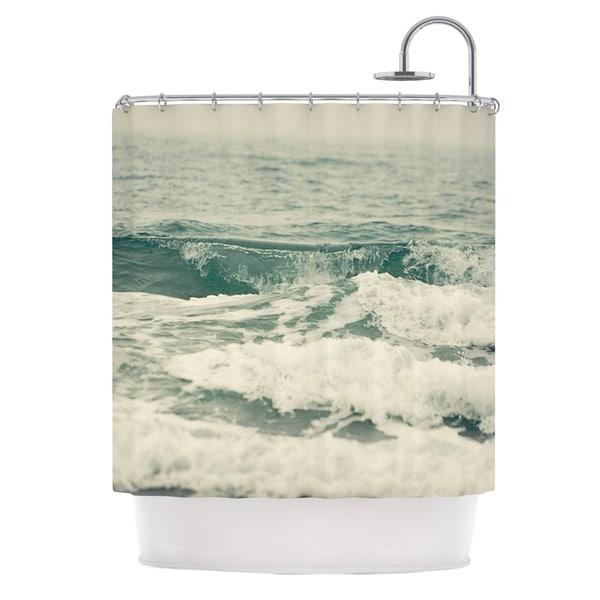KESS InHouse Cristina Mitchell Crashing Waves Teal Ocean Shower Curtain (69x70)