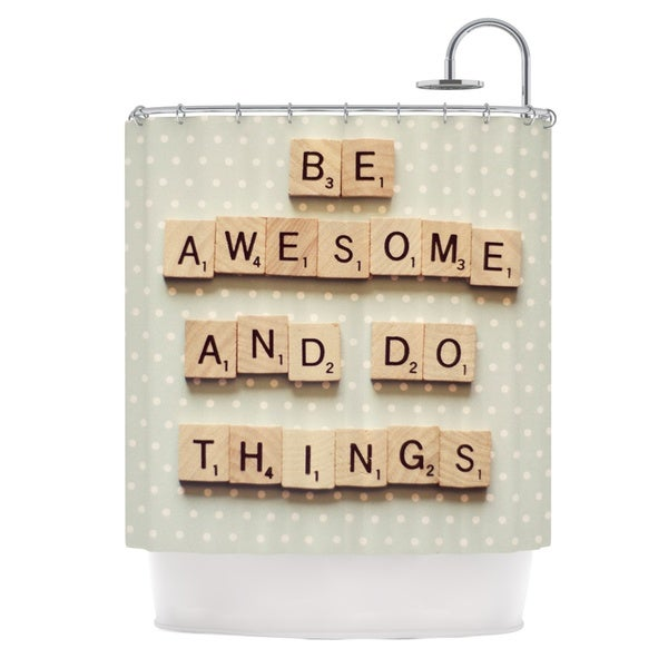 KESS InHouse Cristina Mitchell Be Awesome And Do Things Wooden Letters Shower Curtain (69x70)