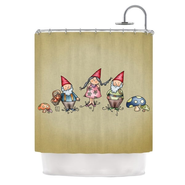 KESS InHouse Carina Povarchik Gnomes Brown Multicolor Shower Curtain 69x70