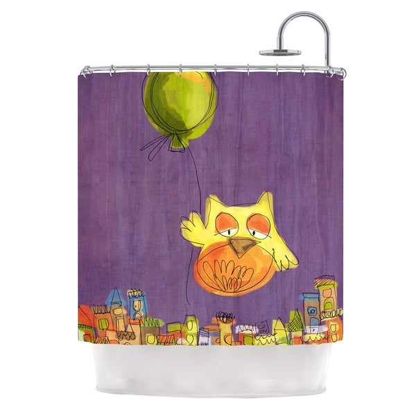 KESS InHouse Carina Povarchik Owl Balloon Purple Orange Shower Curtain (69x70)