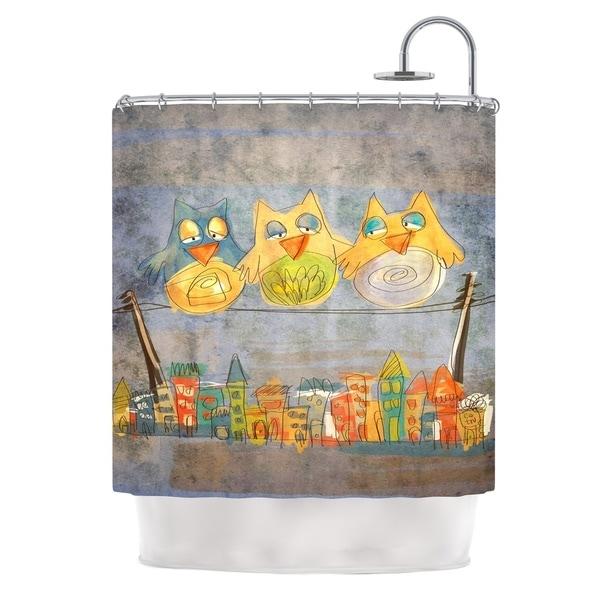 KESS InHouse Carina Povarchik Lechuzas Gray Multicolor Shower Curtain (69x70)
