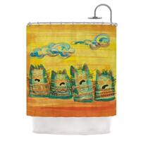 KESS InHouse Carina Povarchik Singing Cats Yellow Orange Shower Curtain (69x70)