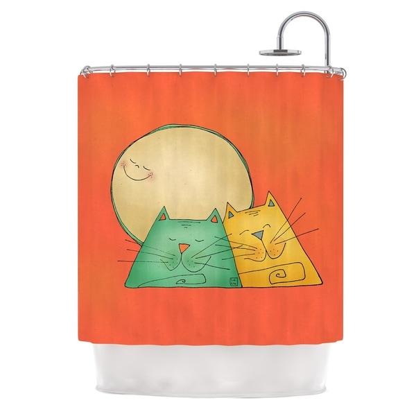 KESS InHouse Carina Povarchik 2 Gatos Romance Love Cats Shower Curtain (69x70)