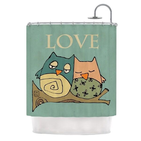 KESS InHouse Carina Povarchik Lechuzas Love Owls Green Shower Curtain (69x70)