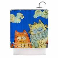 KESS InHouse Carina Povarchik Happy Cats In The City Blue Orange Shower Curtain (69x70)