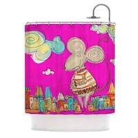KESS InHouse Carina Povarchik Urban Mouse - Magenta Pink Yellow Shower Curtain (69x70)
