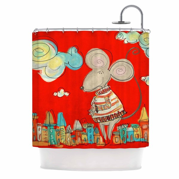 KESS InHouse Carina Povarchik Urban Mouse - Red  Teal Yellow Shower Curtain (69x70)