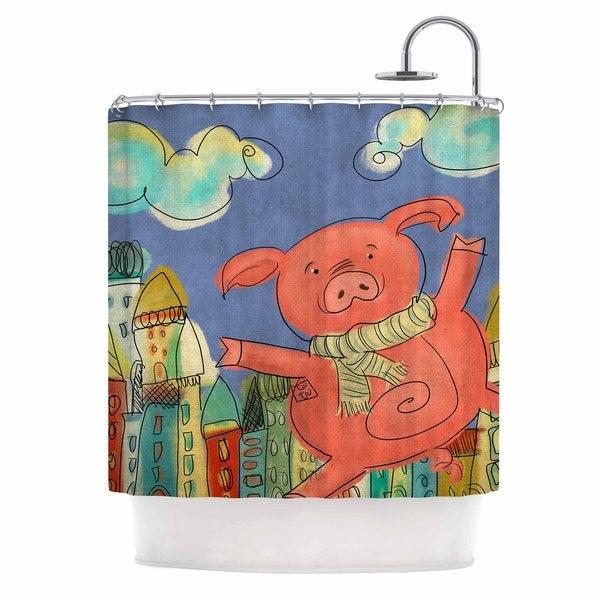 KESS InHouse Carina Povarchik Happy Urban Pig Pink Blue Shower Curtain (69x70)