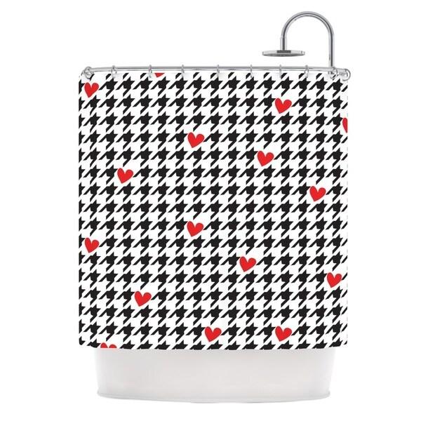 KESS InHouse Empire Ruhl Spacey Houndstooth Heart Shower Curtain (69x70)