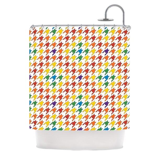 KESS InHouse Empire Ruhl Rainbow Houndstooth Shower Curtain 69x70