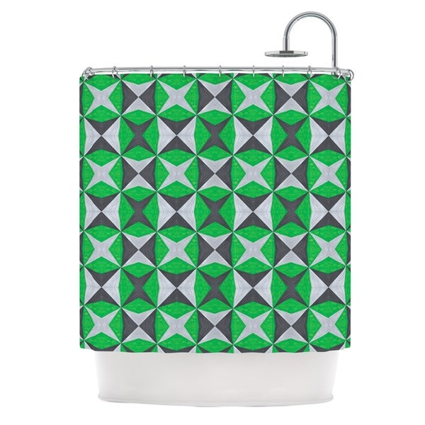 """KESS InHouse Empire Ruhl """"Silver and Green Abstract"""" Green Black Shower Curtain (69x70) - 69 x 70"""