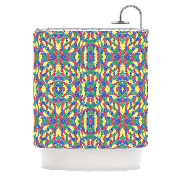 KESS InHouse Empire Ruhl Energy Abstract Multicolor Pattern Shower Curtain (69x70)