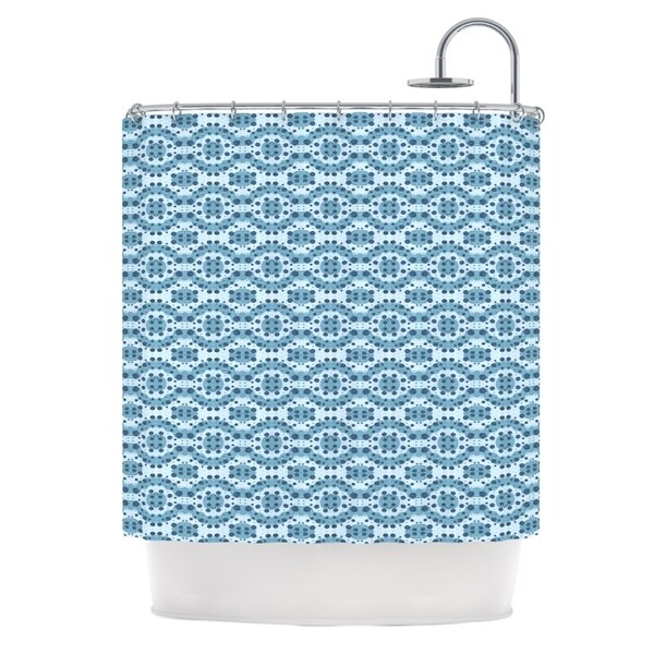KESS InHouse Empire Ruhl Blue Circle Abstract Navy Geometric Shower Curtain (69x70)