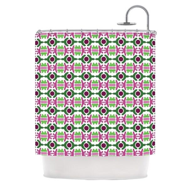 KESS InHouse Empire Ruhl Island Dreaming Abstract Pink Green Shower Curtain (69x70)