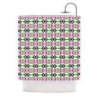 KESS InHouse Empire Ruhl Island Dreaming Abstract Pink Green Shower Curtain (69x70)