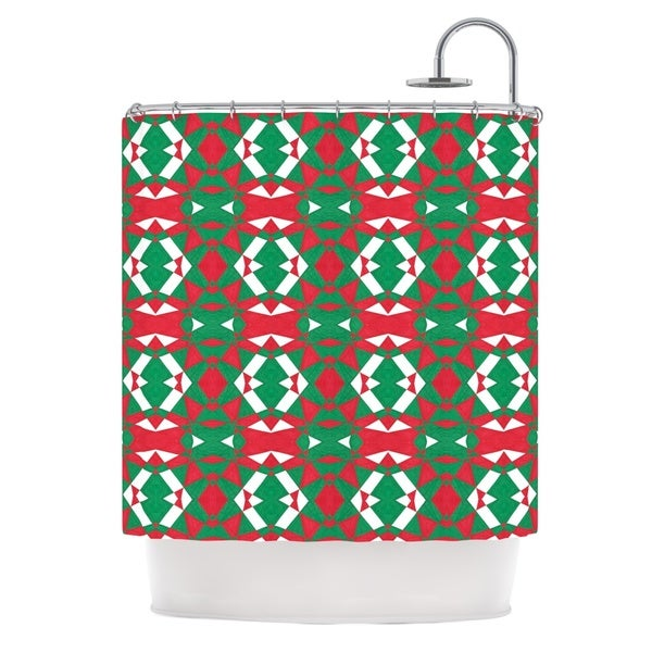 KESS InHouse Empire Ruhl Christmas Geo Red Green Shower Curtain (69x70)