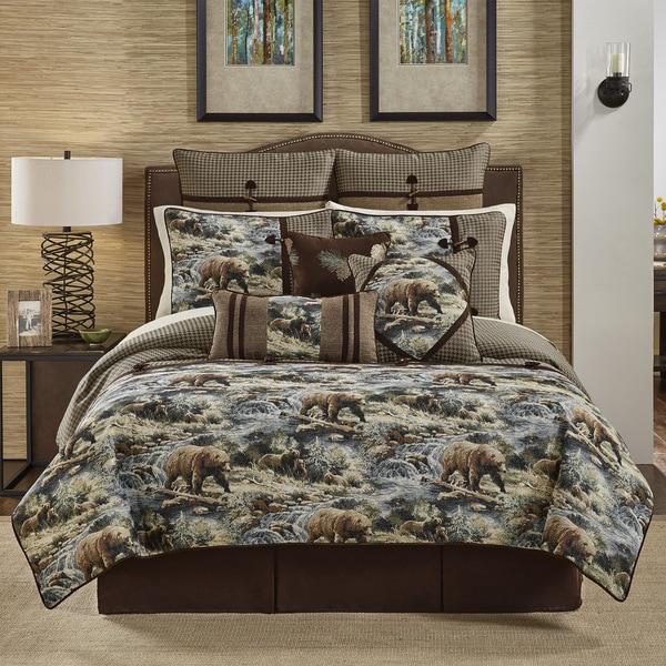 Croscill Kodiak Chenille Jacquard Woven Lodge 4 Piece Comforter Set