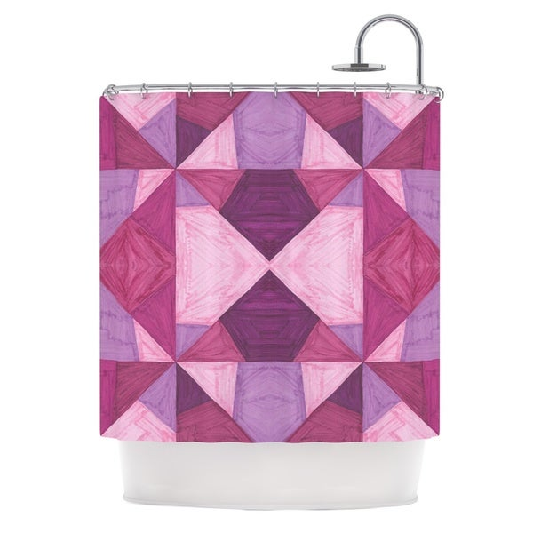 KESS InHouse Empire Ruhl Purple Angles Pink Geometric Shower Curtain (69x70)