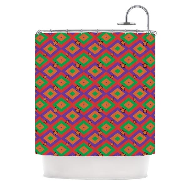KESS InHouse Empire Ruhl Orange Super Stars Multicolor Geometric Shower Curtain (69x70)