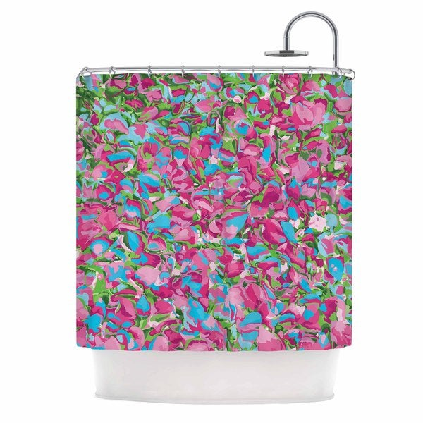 KESS InHouse Empire Ruhl Abstract Spring Petals Pink Teal Shower Curtain (69x70)