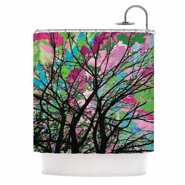 KESS InHouse Empire Ruhl Tree Of Spring 2 Green Nature Shower Curtain (69x70)