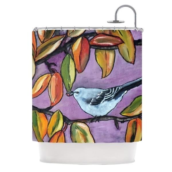 KESS InHouse Cathy Rodgers Mockingbird Purple Orange Shower Curtain (69x70)
