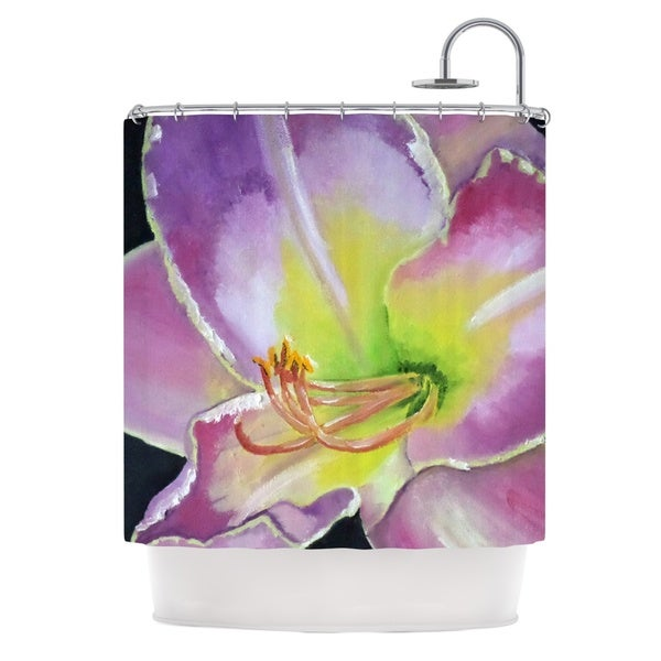 KESS InHouse Cathy Rodgers Violet and Lemon Purple Green Shower Curtain (69x70)
