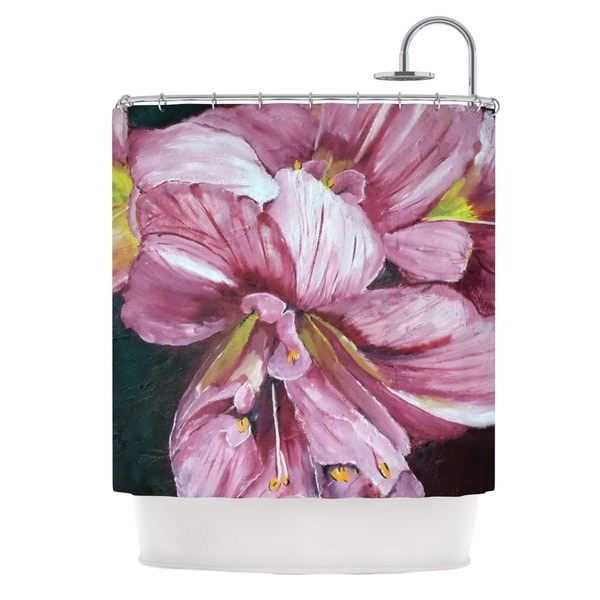 KESS InHouse Cathy Rodgers Pink Day Lily Blooms Pink Flower Shower Curtain (69x70)