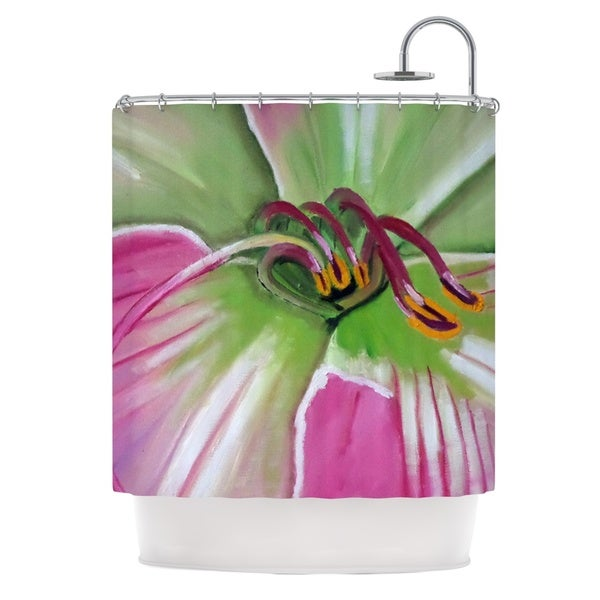 KESS InHouse Cathy Rodgers Pink and Green Flower Shower Curtain (69x70)