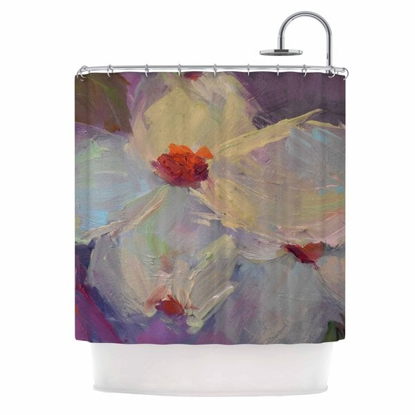 KESS InHouse Carol Schiff Dreaming Of Dogwood Red Pink Shower Curtain (69x70)