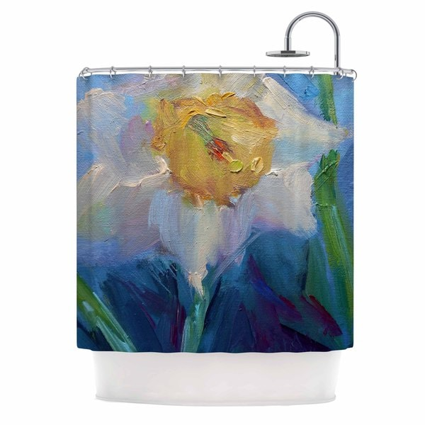 KESS InHouse Carol Schiff Daffodil Day  Yellow Blue Shower Curtain (69x70)